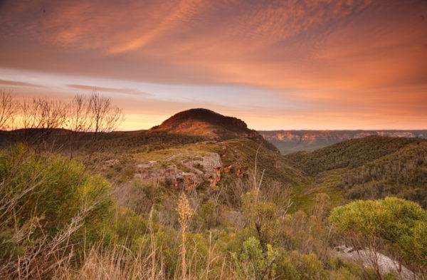 Sunrise skies over Mount Banks Blue Mountains
